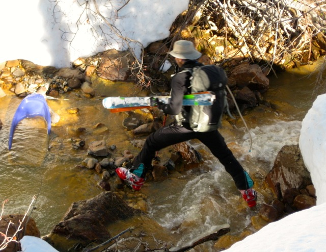 Believe it or not, this was a more secure way to cross a stream than using icy bridges!
