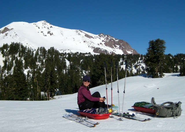 Sunny snack break with mighty Lassen Peak in the background.