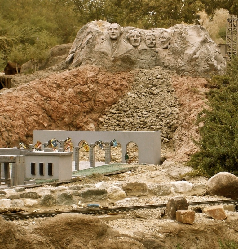 """A wee Mt. Rushmore is one of many cool features of the """"G"""" model train display at the Living Desert."""