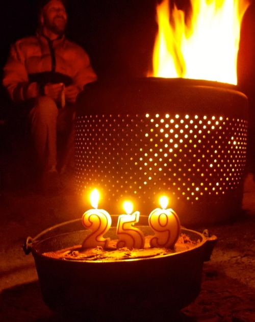 Our birthdays added up to this rather large number atop this Dutch-oven cake.