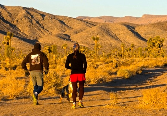 Getting a little morning run in before walking adventures begin for the day. (photo: CIversen)