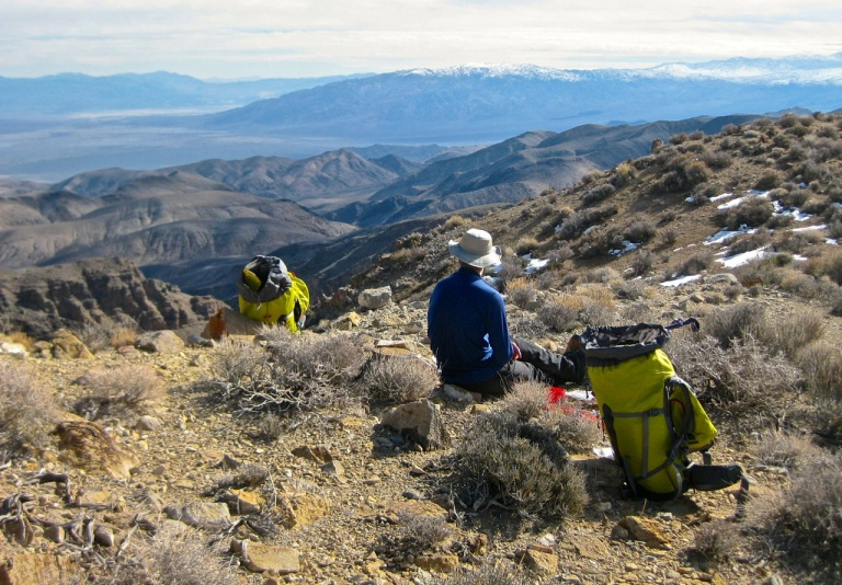 Coffee break at the top of the bypass, and a great view down Death Valley, looking toward Furnace Creek. Lots of snow on the Panamints!