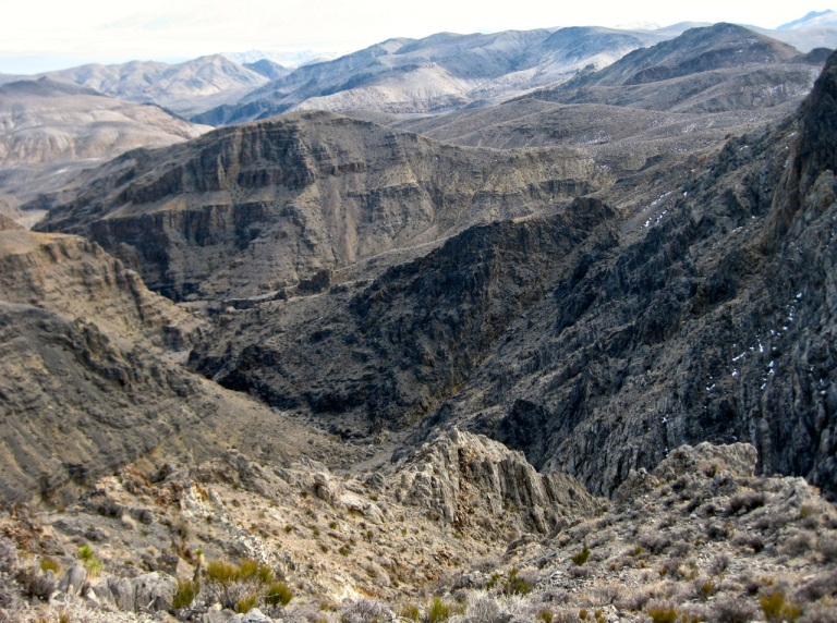 Dry Bone Canyon from above, amid the rugged ridges of the Cottonwoods.