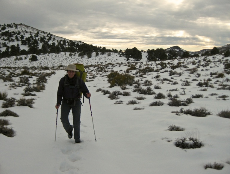 We found a bit more snow than expected on the upper section of old mining road, before dropping into Bighorn Gorge.