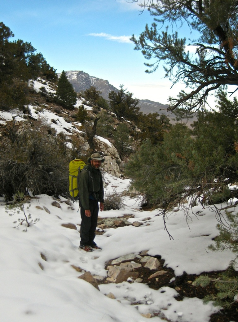 North-side slopes had less snow, but the wind had blown that snow into our gully!
