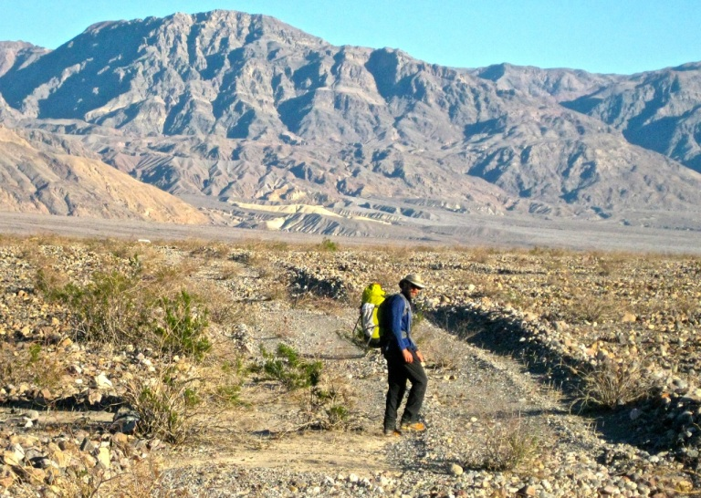 "Out of the gorge, back across Death Valley Wash, and back up to the Sprinter (see it?) on an old old ""road"" that is actually still marked on the map! Clearly it has seen better days ..."