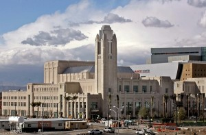 Smith Center exterior evokes Art Deco architecture and the Hoover Dam era. (LA Times)