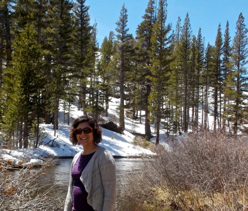 Jen at the inlet stream leading to Ellery Lake, Inyo National Forest near Yosemite.