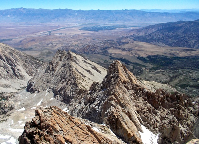 Our route: View from near the summit of the east arête, with the Buttermilks and Bishop beyond. White Mountains in the far distance.