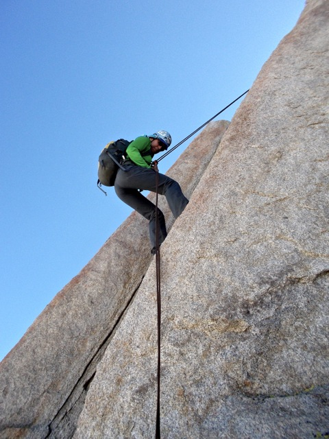 Oooof ... we had to do a couple of short rappels on our lightweight webbing harnesses. My ribs weren't too happy ...