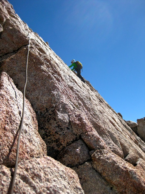 I appreciated a belay for this rather exposed traverse on the arête.
