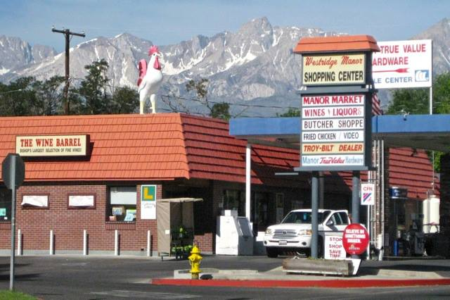 Mt. Humphreys looms behind Manor Market and its equally large rooster.