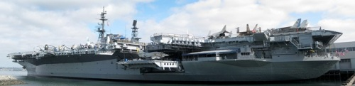 The USS Midway, now a museum. It took some work to get the whole ship into 1 picture!