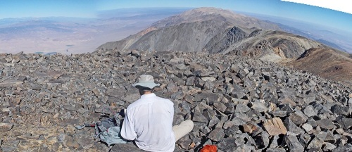 Bagels and coffee at the summit, looking north along the crest toward Montgomery and Boundary Peaks, at the California-Nevada border.