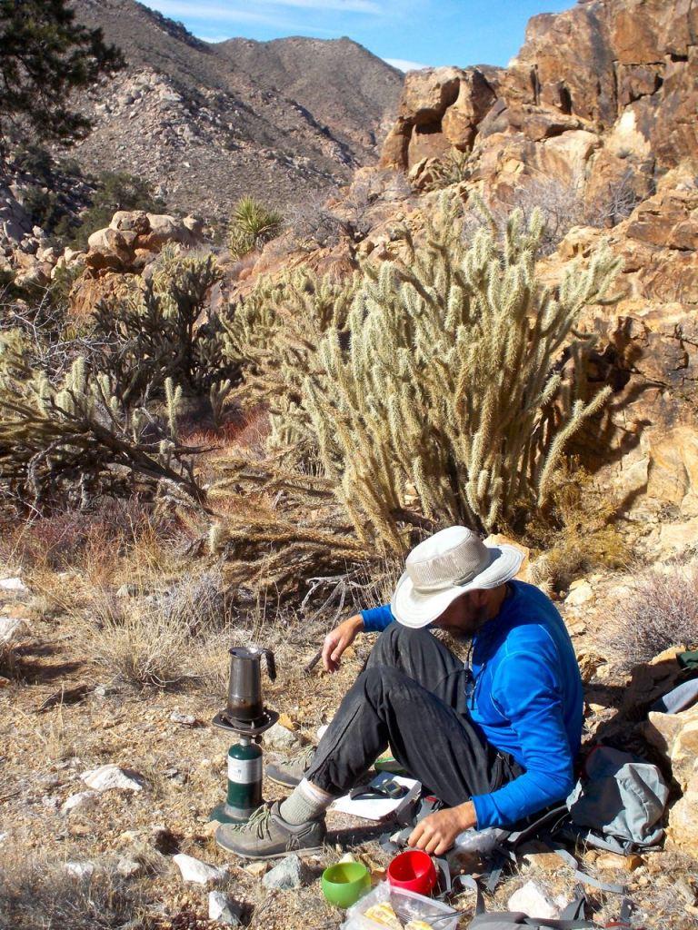 Coffee, cactus and pie break, Bighorn Basin.
