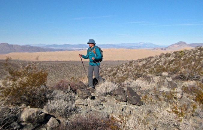 We followed low ridges up into the mountains, with Kelso Dunes behind.