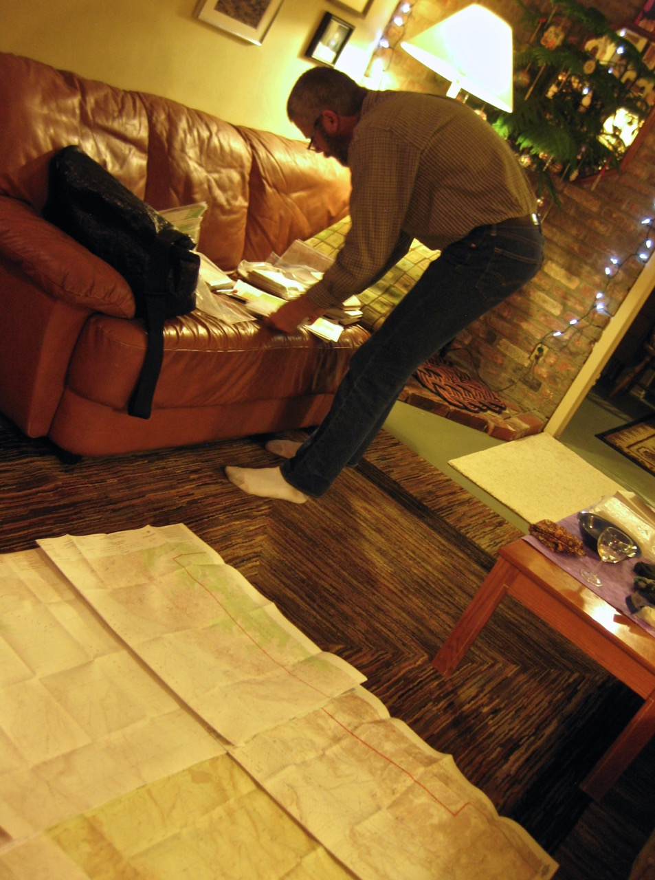 We spent New Year's Eve planning the route on a carpet of topographic maps.