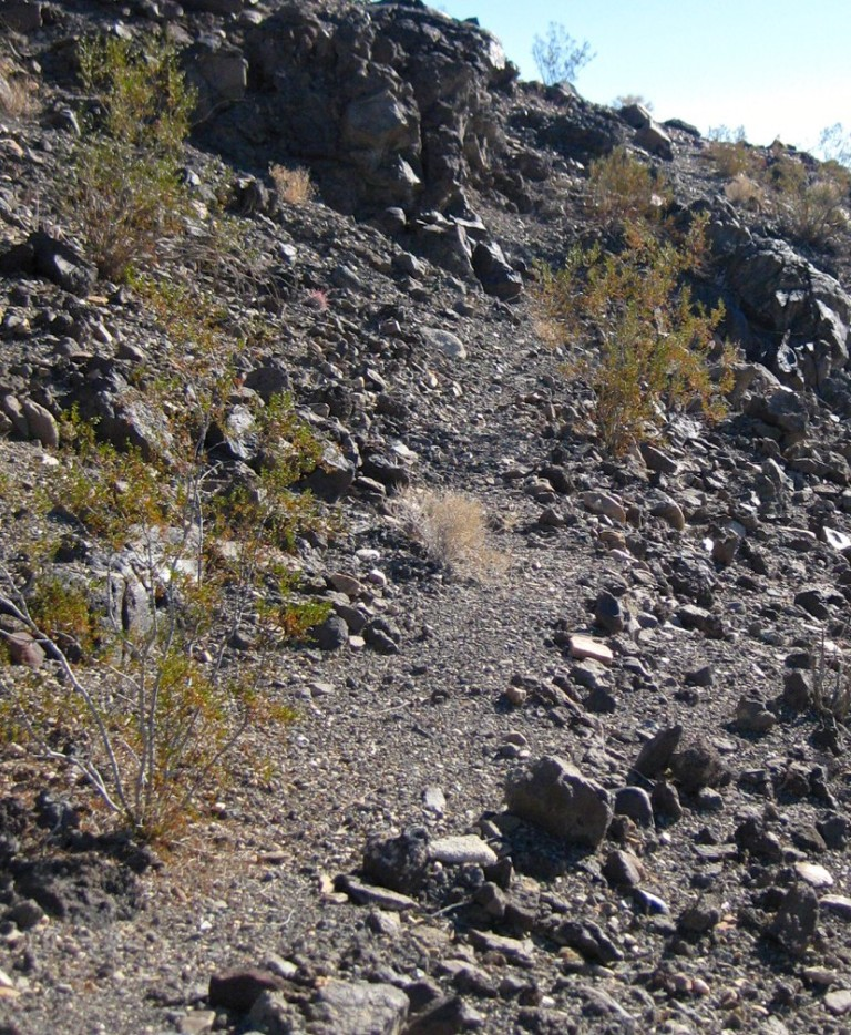 Faint remnant of an old trail where Waucoba Wash narrowed at the base of a ridge,